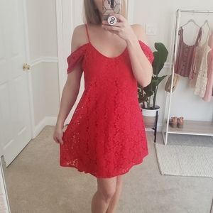 WAYF Red Lace Dress Size M
